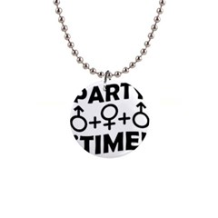 Party Time Threesome Sex Concept Typographic Design Button Necklace by dflcprints