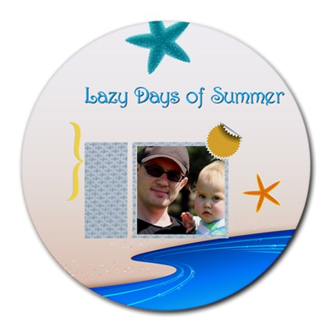 Summer By Summer Time    Collage Round Mousepad   Usfgx0owsckc   Www Artscow Com 8 x8 Round Mousepad - 1