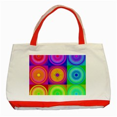 Retro Circles Classic Tote Bag (red) by SaraThePixelPixie