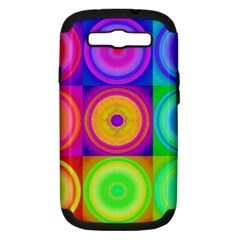 Retro Circles Samsung Galaxy S Iii Hardshell Case (pc+silicone) by SaraThePixelPixie
