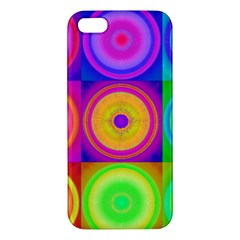 Retro Circles Iphone 5s Premium Hardshell Case by SaraThePixelPixie