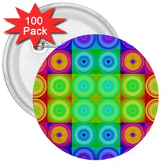 Rainbow Circles 3  Button (100 Pack) by SaraThePixelPixie