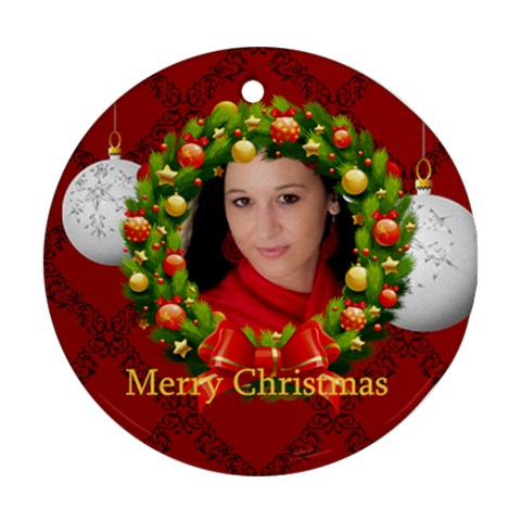 Xmas By Debe Lee   Ornament (round)   Dwk8pb35h0by   Www Artscow Com Front