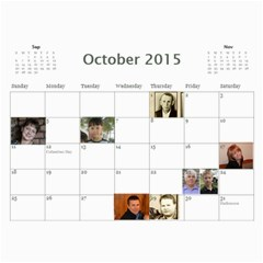 Big Family Calendar By Tania   Wall Calendar 11  X 8 5  (18 Months)   Qe1ihgoh5ps4   Www Artscow Com Oct 2015
