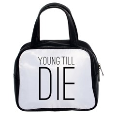 Young Till Die Typographic Statement Design Classic Handbag (Two Sides) by dflcprints