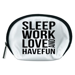 Sleep Work Love And Have Fun Typographic Design 01 Accessory Pouch (medium) by dflcprints