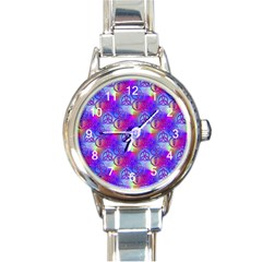 Rainbow Led Zeppelin Symbols Round Italian Charm Watch by SaraThePixelPixie