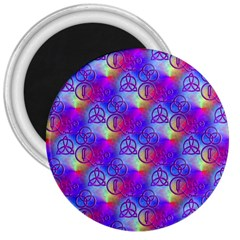 Rainbow Led Zeppelin Symbols 3  Button Magnet by SaraThePixelPixie