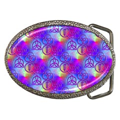 Rainbow Led Zeppelin Symbols Belt Buckle (oval) by SaraThePixelPixie