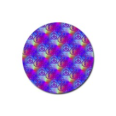 Rainbow Led Zeppelin Symbols Rubber Round Coaster (4 Pack) by SaraThePixelPixie