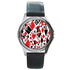 Distorted Diamonds In Black & Red Round Leather Watch (Silver Rim) by StuffOrSomething