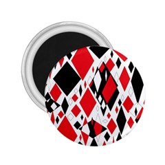 Distorted Diamonds In Black & Red 2 25  Button Magnet by StuffOrSomething