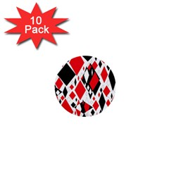 Distorted Diamonds In Black & Red 1  Mini Button (10 Pack) by StuffOrSomething