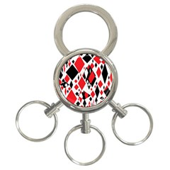 Distorted Diamonds In Black & Red 3 Ring Key Chain by StuffOrSomething