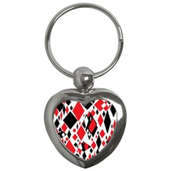 Distorted Diamonds In Black & Red Key Chain (heart) by StuffOrSomething