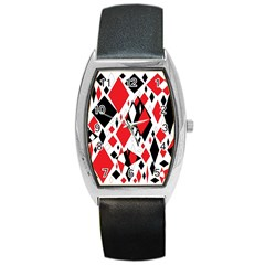 Distorted Diamonds In Black & Red Tonneau Leather Watch