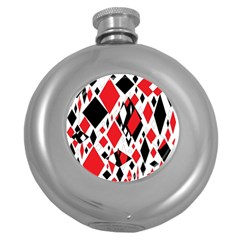 Distorted Diamonds In Black & Red Hip Flask (round) by StuffOrSomething