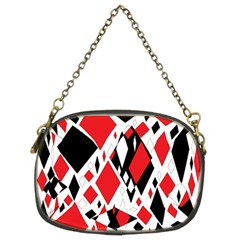 Distorted Diamonds In Black & Red Chain Purse (two Sided)  by StuffOrSomething