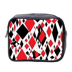 Distorted Diamonds In Black & Red Mini Travel Toiletry Bag (two Sides) by StuffOrSomething