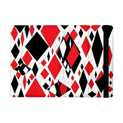 Distorted Diamonds In Black & Red Apple Ipad Mini Flip Case by StuffOrSomething