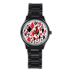 Distorted Diamonds In Black & Red Sport Metal Watch (black) by StuffOrSomething