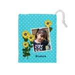 Drawstring Pouch (M): Flowers3 - Drawstring Pouch (Medium)
