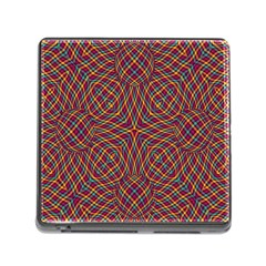 Trippy Tartan Memory Card Reader With Storage (square) by SaraThePixelPixie