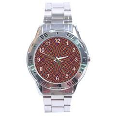 Trippy Tartan Stainless Steel Watch by SaraThePixelPixie