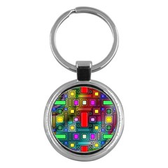 Abstract Modern Key Chain (round) by StuffOrSomething