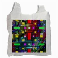 Abstract Modern White Reusable Bag (one Side) by StuffOrSomething