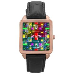 Abstract Modern Rose Gold Leather Watch