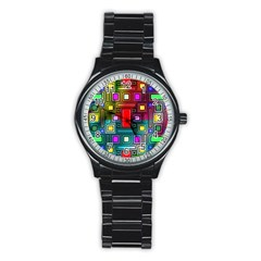 Abstract Modern Sport Metal Watch (black)