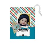 Drawstring Pouch (L): Plaid - Drawstring Pouch (Large)