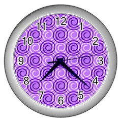 Purple And White Swirls Background Wall Clock (silver)