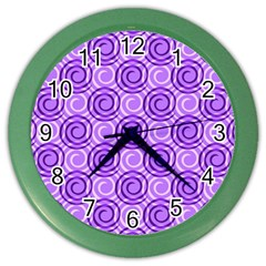Purple And White Swirls Background Wall Clock (color) by Colorfulart23
