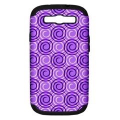 Purple And White Swirls Background Samsung Galaxy S III Hardshell Case (PC+Silicone) by Colorfulart23