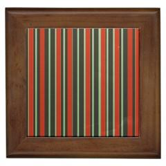 Festive Stripe Framed Ceramic Tile by Colorfulart23