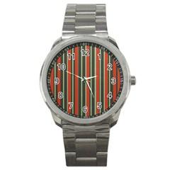 Festive Stripe Sport Metal Watch by Colorfulart23