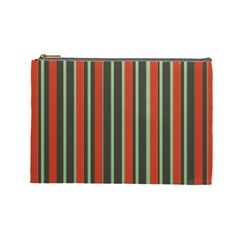 Festive Stripe Cosmetic Bag (large) by Colorfulart23