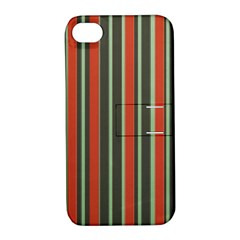 Festive Stripe Apple Iphone 4/4s Hardshell Case With Stand by Colorfulart23