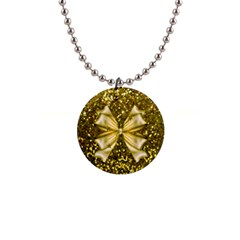 Golden Sequins And Bow Button Necklace