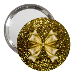 Golden Sequins And Bow 3  Handbag Mirror