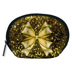 Golden Sequins And Bow Accessory Pouch (medium)