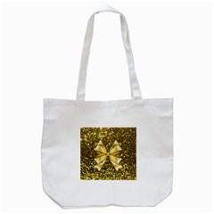 Golden Sequins And Bow Tote Bag (white)