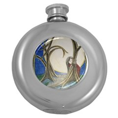 Beware Of Strangers (2) Hip Flask (round) by MidnightBlueFrog