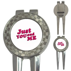 Just You And Me Typographic Statement Design Golf Pitchfork & Ball Marker by dflcprints