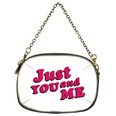 Just You And Me Typographic Statement Design Chain Purse (one Side) by dflcprints