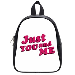 Just You And Me Typographic Statement Design School Bag (small) by dflcprints