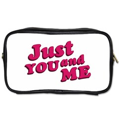 Just You And Me Typographic Statement Design Travel Toiletry Bag (one Side) by dflcprints