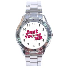 Just You And Me Typographic Statement Design Stainless Steel Watch by dflcprints